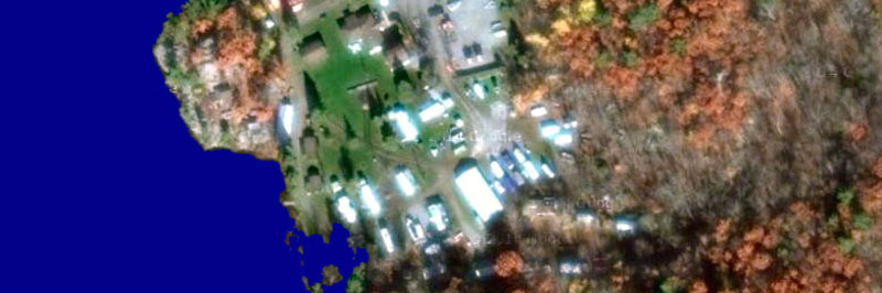 Google Earth satelitte view of Long Lake Cottages and Trailer Park